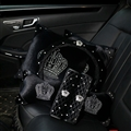 Crown Diamond Plush Car 2pcs Hold Pillow Neck Pillow Safty Belt Cover And Steering Wheel Cover Interior Sets - Black