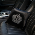 Crown Diamond Plush Car Hold Pillow Woman Universal Beautiful Cushions 1pcs - Black