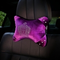 Crown Diamond Plush Car Neck Pillow Woman Universal Warm Headrest 1pcs - Purple