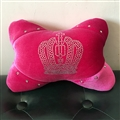 Crown Diamond Plush Car Neck Pillow Woman Universal Warm Headrest 1pcs - Rose