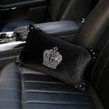 Crown Diamond Plush Car Waist Pillow Woman Universal Beautiful Cushions 1pcs - Black