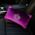 Crown Diamond Plush Car Waist Pillow Woman Universal Beautiful Cushions 1pcs - Purple