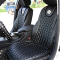 Crown Leather Car Seat Covers Punk Rivet Universal Auto Cushion 2PC Front Cover - Black