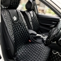 Crown Leather Car Seat Covers Rivet Universal Auto Cushion 1PC Back Cover 2pcs Front Cover - Black