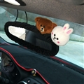 Cute Brown Bear Cony Rabbit Plush Car Rearview Mirror Elastic Covers Auto Interior Decorate - Black
