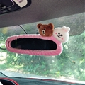Cute Brown Bear Cony Rabbit Plush Car Rearview Mirror Elastic Covers Auto Interior Decorate - Pink