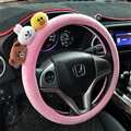 Cute Brown Bear Cony Rabbit Short Plush Auto Car Steering Wheel Covers 15 inch 38CM - Pink