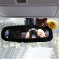 Cute Brown Bear Sally Chick Plush Car Rearview Mirror Elastic Covers Auto Interior Decorate - Black