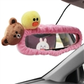 Cute Brown Bear Sally Chick Plush Car Rearview Mirror Elastic Covers Auto Interior Decorate - Pink