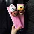 Cute Brown Bear Short Plush Automotive Seat Safety Belt Covers Car Decoration 2pcs - Pink