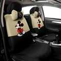 Cute Disney Mickey Mouse Polyester Sandwich fabric Auto Cushion Universal Car Seat Covers 12pcs - Beige Black