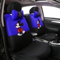 Cute Disney Mickey Mouse Polyester Sandwich fabric Auto Cushion Universal Car Seat Covers 12pcs - Blue Black