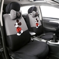 Cute Disney Mickey Mouse Polyester Sandwich fabric Auto Cushion Universal Car Seat Covers 12pcs - Grey Black