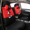 Cute Disney Mickey Mouse Polyester Sandwich fabric Auto Cushion Universal Car Seat Covers 12pcs - Red Black