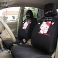 Cute Hello Kitty Polyester fabric Auto Cushion Universal Car Seat Covers 10pcs - Black