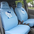 Cute Hello Kitty Polyester fabric Auto Cushion Universal Car Seat Covers 10pcs - Blue