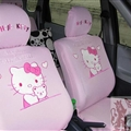 Cute Hello Kitty Polyester fabric Auto Cushion Universal Car Seat Covers 10pcs - Pink