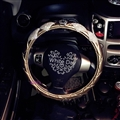 Diamond Nice Crown PU Leather Vehicle Steering Wheel Covers 15 inch 38CM - Gold