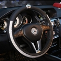 Elegant Crown Diamond PU Leather Auto Car Steering Wheel Covers 15 inch 38CM - Black White