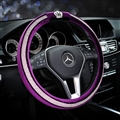 Elegant Crown Diamond Plush Auto Car Steering Wheel Covers 15 inch 38CM - Purple White