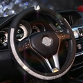 Elegant Swan Diamond PU Leather Auto Car Steering Wheel Covers 15 inch 38CM - Black White
