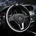 Elegant Swan Diamond Plush Auto Car Steering Wheel Covers 15 inch 38CM - Black White