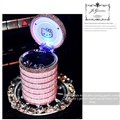 Hello Kitty Car Ashtray with Led Light Crystal Bling Bling Storage Cup Holder for Girls Woman - Pink