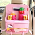 Hello Kitty Table Multi-function Car Seat Back Hanging Pocket Thermal Insulation Storage Bag for Kid - Pink