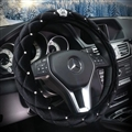 Hot Winter Steering Wheel Crystal Crown Auto Fur Cases For Women Girls Car styling - Black