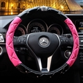 Hot Winter Steering Wheel Crystal Crown Auto Leather Cases For Women Girls Car Styling - Black Rose