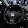 Hot Winter Steering Wheel Crystal Crown Auto Leather Cases For Women Girls Car Styling - Black