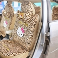 Leopard Print Hello Kitty Short Plush Universal Car Seat Covers Car Accessories 12pcs - Beige