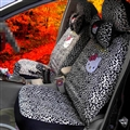 Leopard Print Hello Kitty Short Plush Universal Car Seat Covers Car Accessories 12pcs - Black