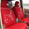 Lovely Hello Kitty Polyester fabric Auto Cushion Universal Car Seat Covers 10pcs - Red
