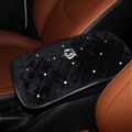 Plush Crown Rhinestone Pad Armrest Cushions 1pcs Winter Warm Crystal Universal Car Armrest - Black