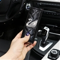 Swan 1pcs Crystal Car Handbrake Covers Leather Diamond Brake Case Car Interior Decro - Black