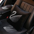 Swan Diamond Plush Car Hold Pillow Woman Universal Beautiful Cushions 1pcs - Black