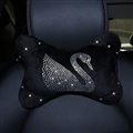 Swan Diamonds Plush Auto Neck Pillow Woman Universal Warm Headrest 1pcs - Black