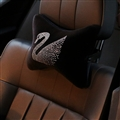 Swan Diamonds Plush Car Neck Pillow Woman Universal Warm Headrest 1pcs - Black