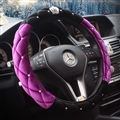 Top Crytsal Plush Car Steering Wheel Covers Diamond Crown for Women 15 inch 38CM - Black Purple