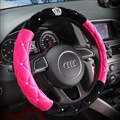 Top Crytsal Plush Car Steering Wheel Covers Diamond Crown for Women 15 inch 38CM - Black Rose