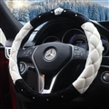 Top Crytsal Plush Car Steering Wheel Covers Diamond Crown for Women 15 inch 38CM - Black White