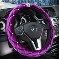 Top Crytsal Plush Car Steering Wheel Covers Diamond Crown for Women 15 inch 38CM - Purple