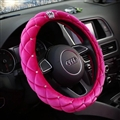 Top Crytsal Plush Car Steering Wheel Covers Diamond Crown for Women 15 inch 38CM - Rose