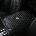 leather Swan Diamonds Pad Armrest Cushions 1pcs Winter Warm Crystal Universal Car Armrest - Black