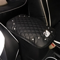 leather Swan Rhinestone Pad Armrest Cushions 1pcs Winter Warm Crystal Universal Car Armrest - Black