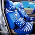 16pcs Snoopy Star Car Seat Covers Interior Sets Accessories Plush Universal - Blue