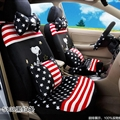 16pcs Snoopy Stripe Star Car Seat Covers Interior Sets Accessories Plush Universal - Black Red