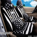 16pcs Snoopy Stripe Star Car Seat Covers Interior Sets Accessories Plush Universal - Black White