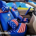 16pcs Snoopy Stripe Star Car Seat Covers Interior Sets Accessories Plush Universal - Blue Red
